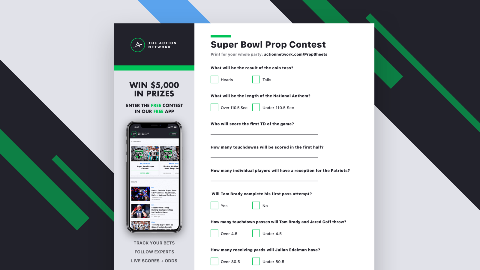 This is an image of Printable Prop Bets Super Bowl in bowl party props sheet